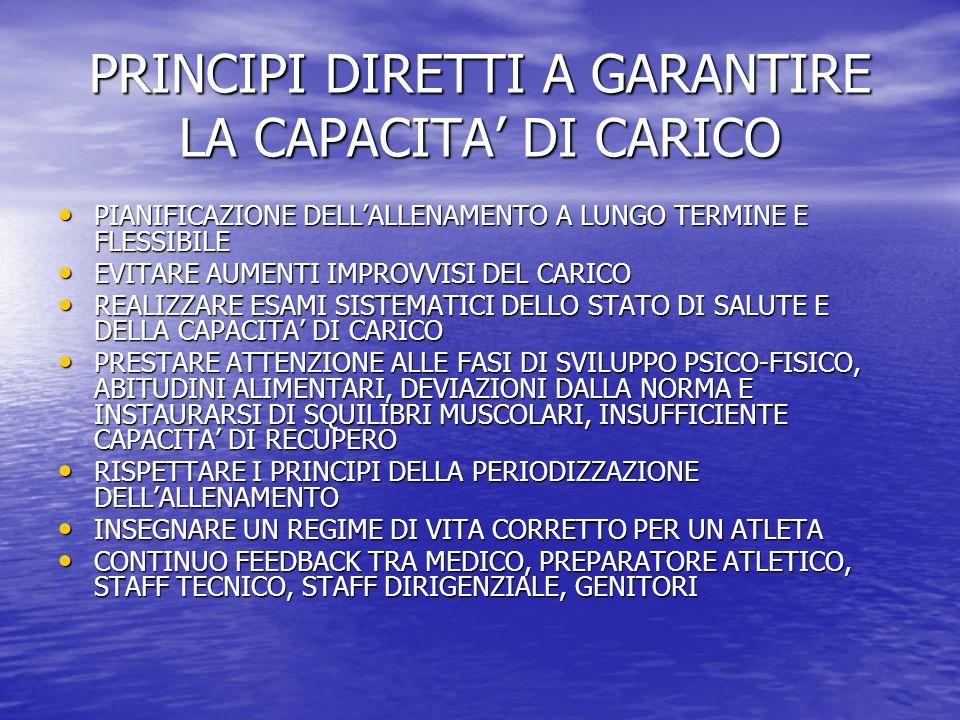 PRINCIPI DIRETTI A GARANTIRE LA CAPACITA' DI CARICO