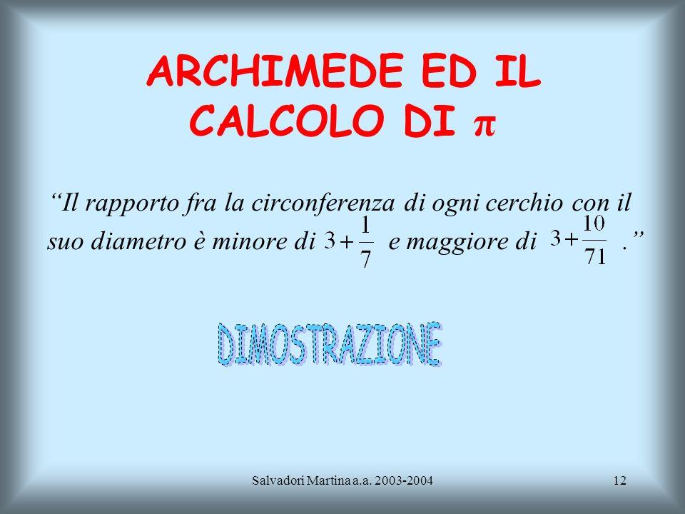 ARCHIMEDE ED IL CALCOLO DI π