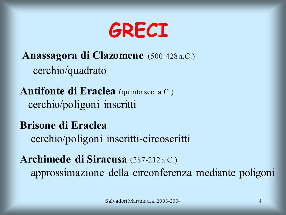 GRECI Anassagora di Clazomene (500-428 a.C.) cerchio/quadrato