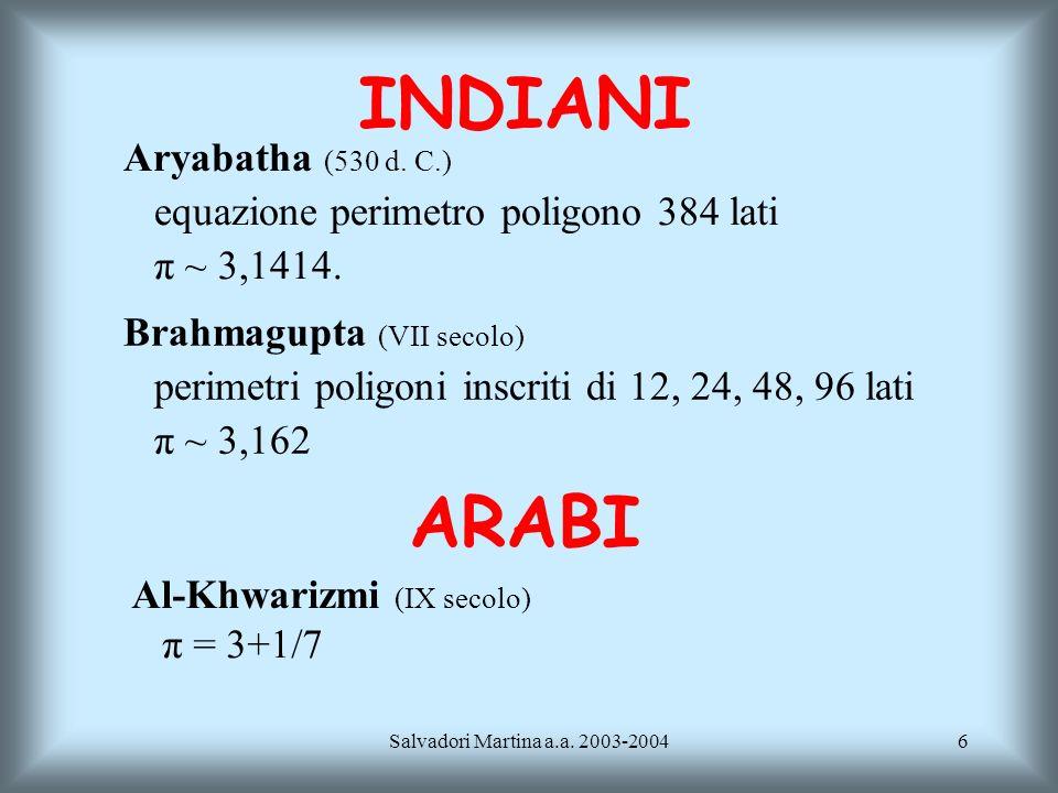 INDIANI ARABI Aryabatha (530 d. C.)