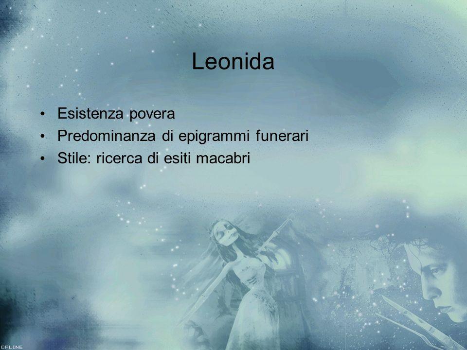 Leonida Esistenza povera Predominanza di epigrammi funerari