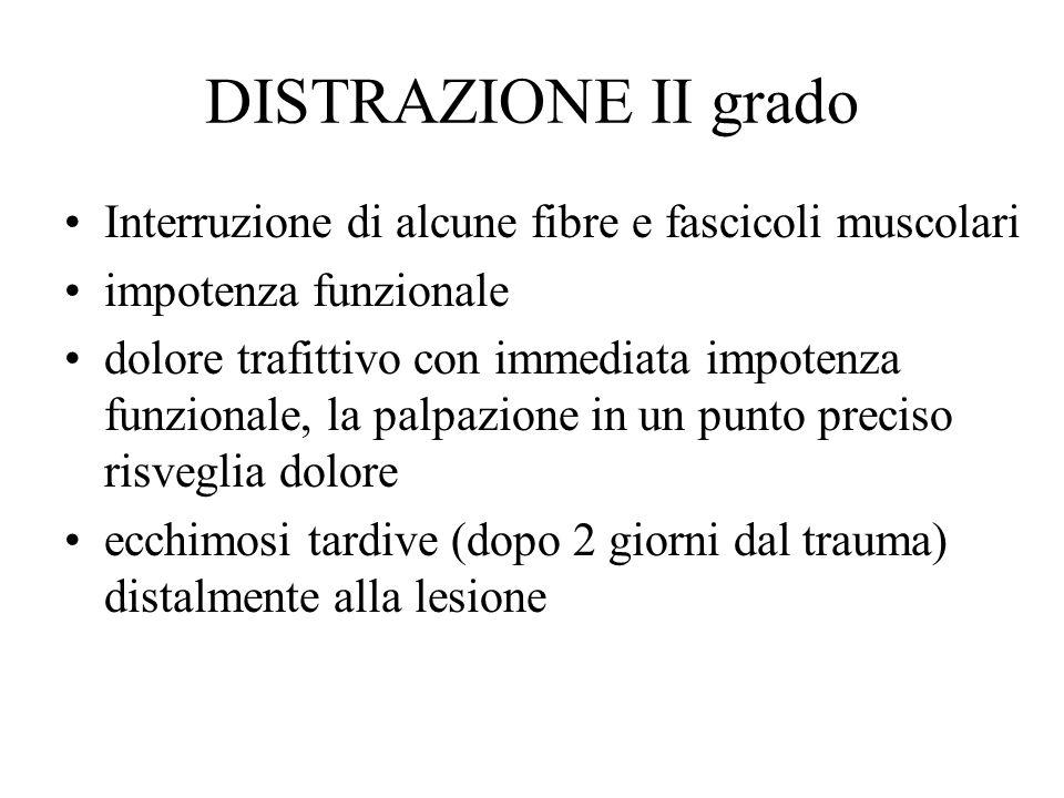 DISTRAZIONE II grado Interruzione di alcune fibre e fascicoli muscolari. impotenza funzionale.