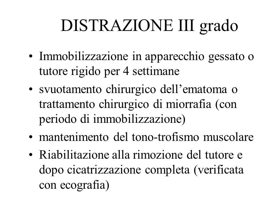 DISTRAZIONE III grado Immobilizzazione in apparecchio gessato o tutore rigido per 4 settimane.