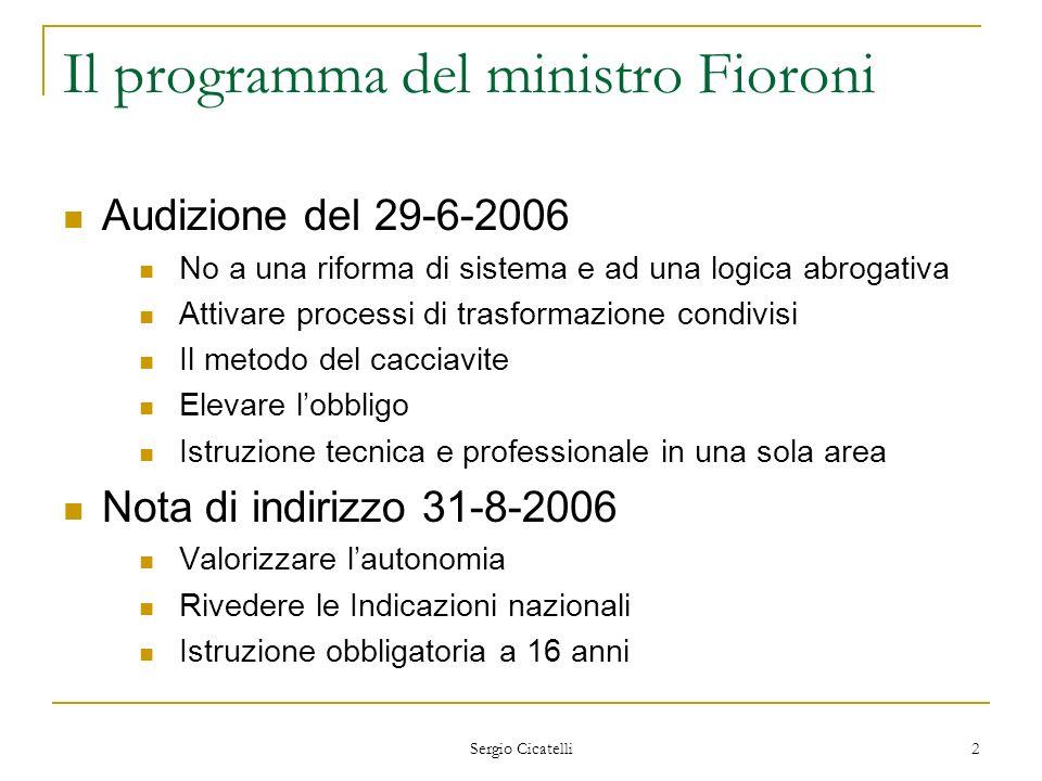 Il programma del ministro Fioroni