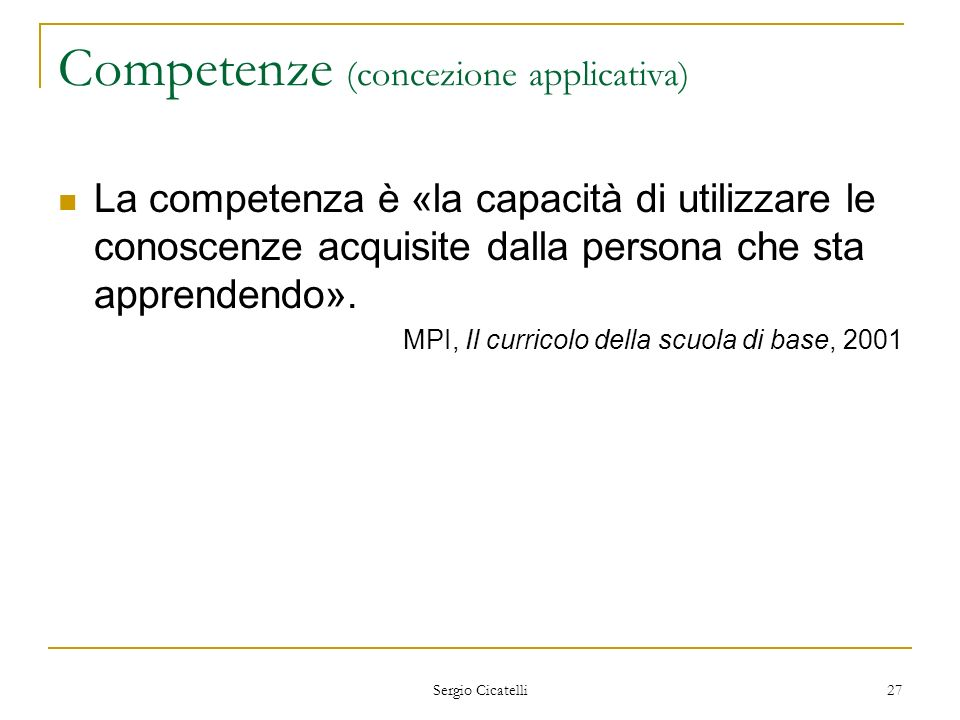 Competenze (concezione applicativa)