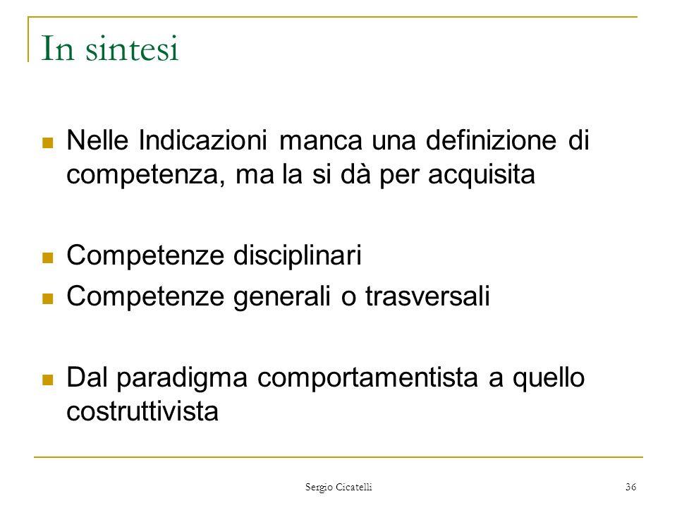 In sintesi Nelle Indicazioni manca una definizione di competenza, ma la si dà per acquisita. Competenze disciplinari.