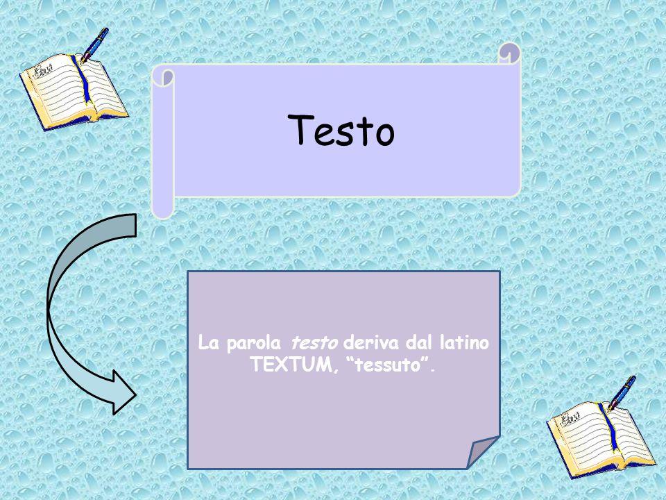 La parola testo deriva dal latino TEXTUM, tessuto .