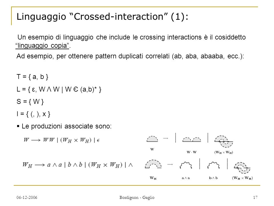 Linguaggio Crossed-interaction (1):