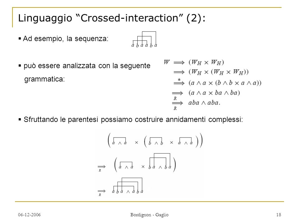 Linguaggio Crossed-interaction (2):