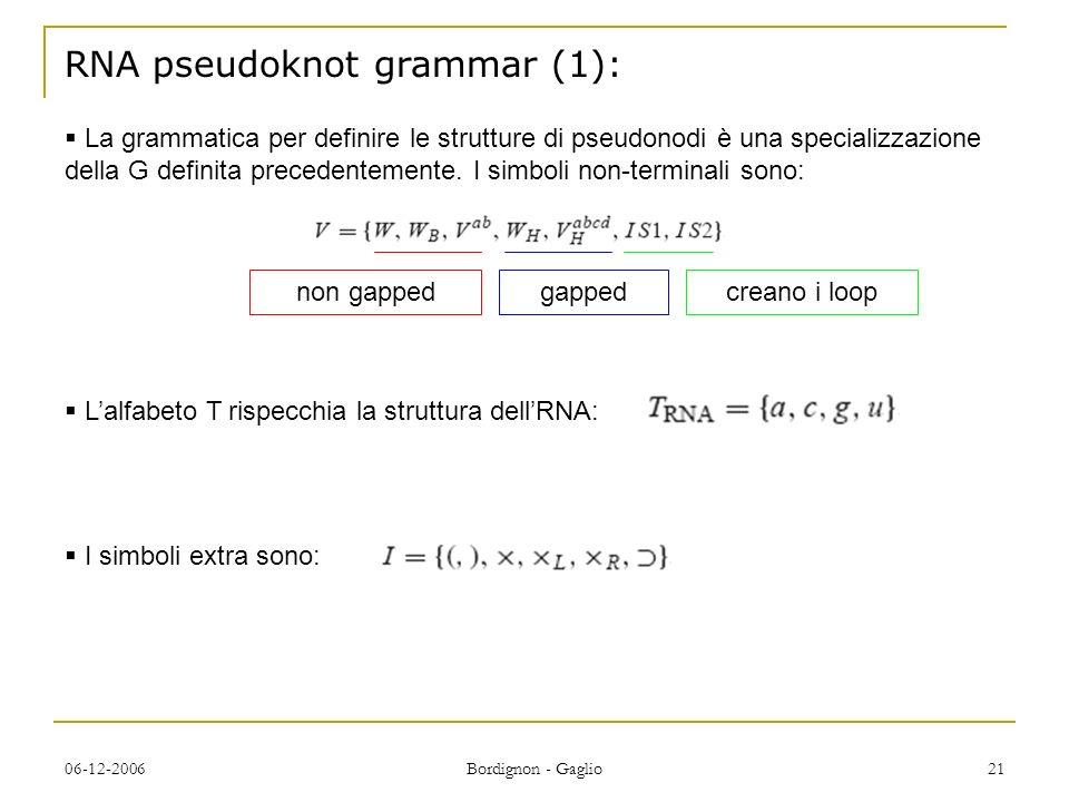 RNA pseudoknot grammar (1):