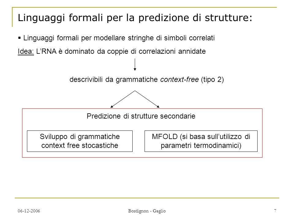 Linguaggi formali per la predizione di strutture:
