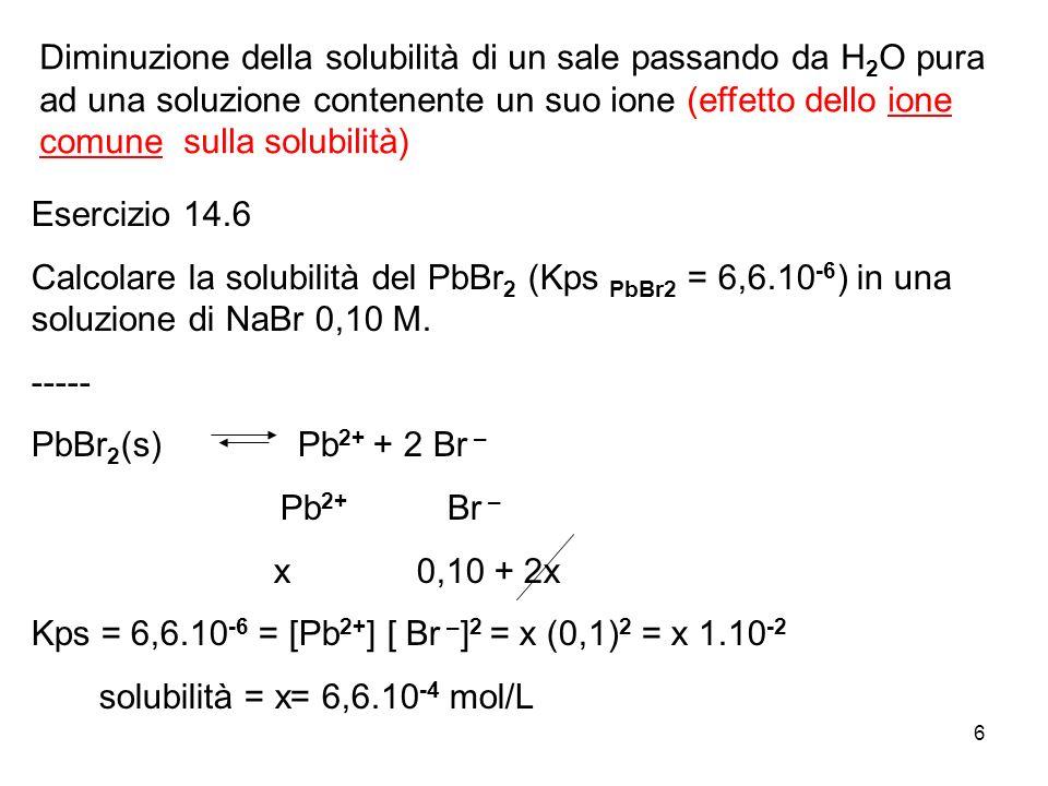 Diminuzione della solubilità di un sale passando da H2O pura ad una soluzione contenente un suo ione (effetto dello ione comune sulla solubilità)