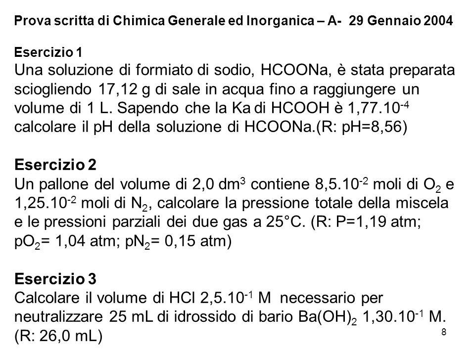 Prova scritta di Chimica Generale ed Inorganica – A- 29 Gennaio 2004