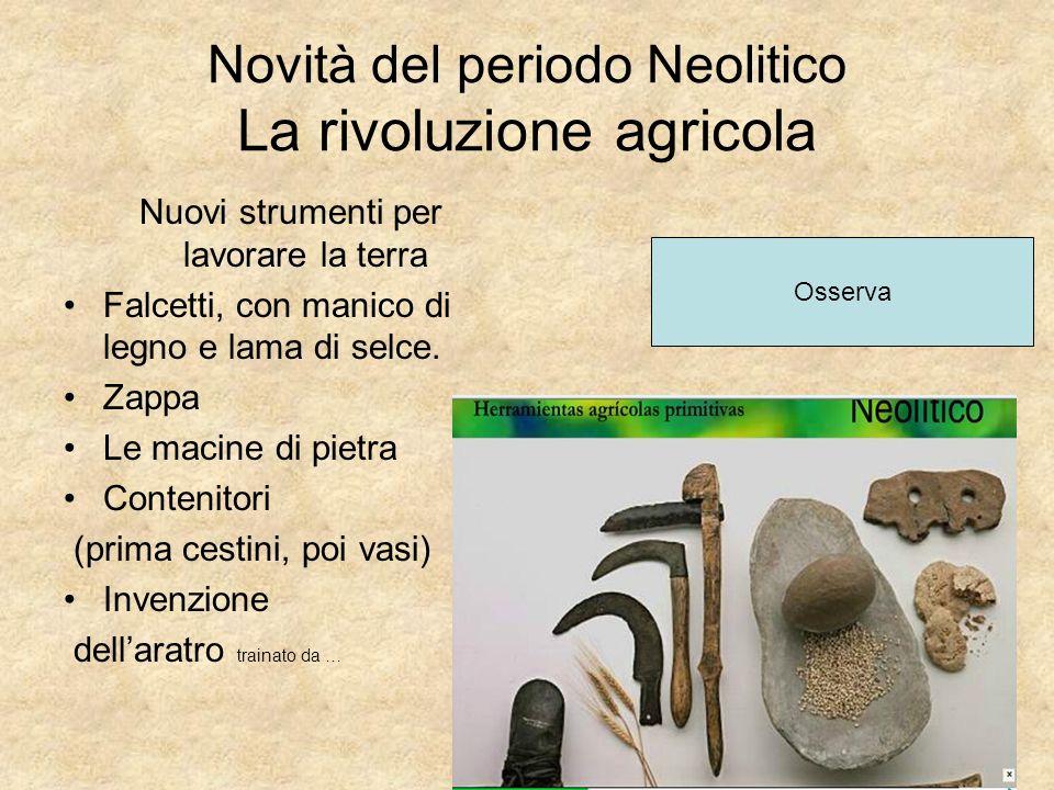 Novità del periodo Neolitico La rivoluzione agricola