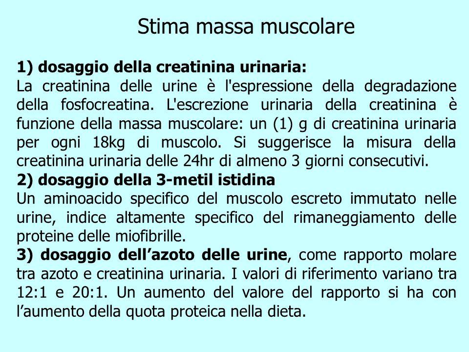 Stima massa muscolare 1) dosaggio della creatinina urinaria: