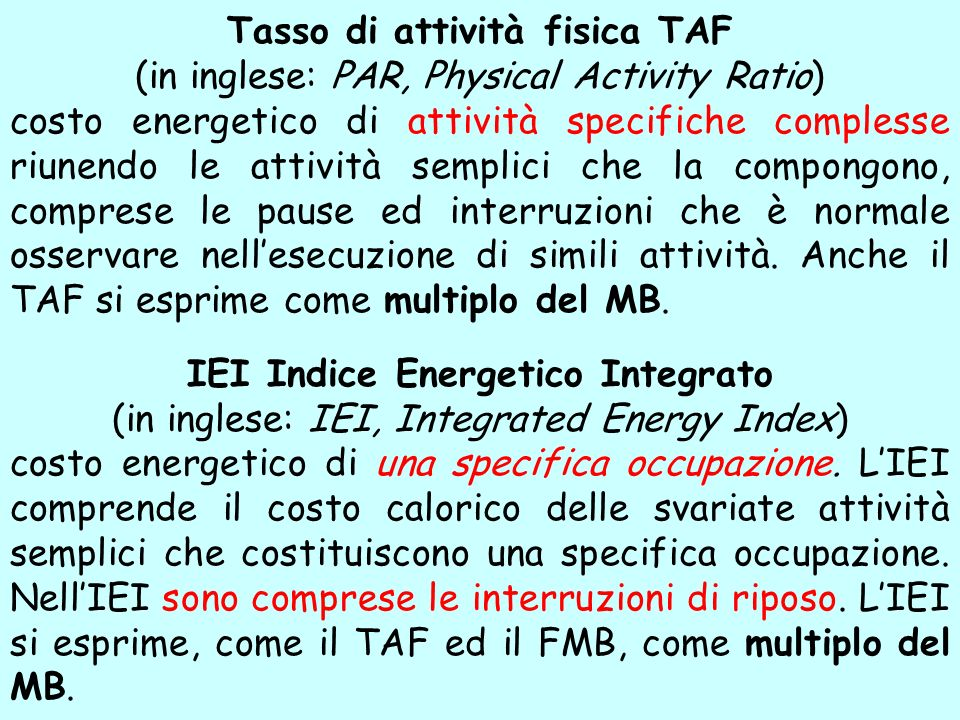 Tasso di attività fisica TAF