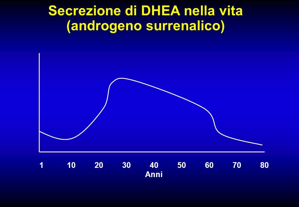 Secrezione di DHEA nella vita (androgeno surrenalico)