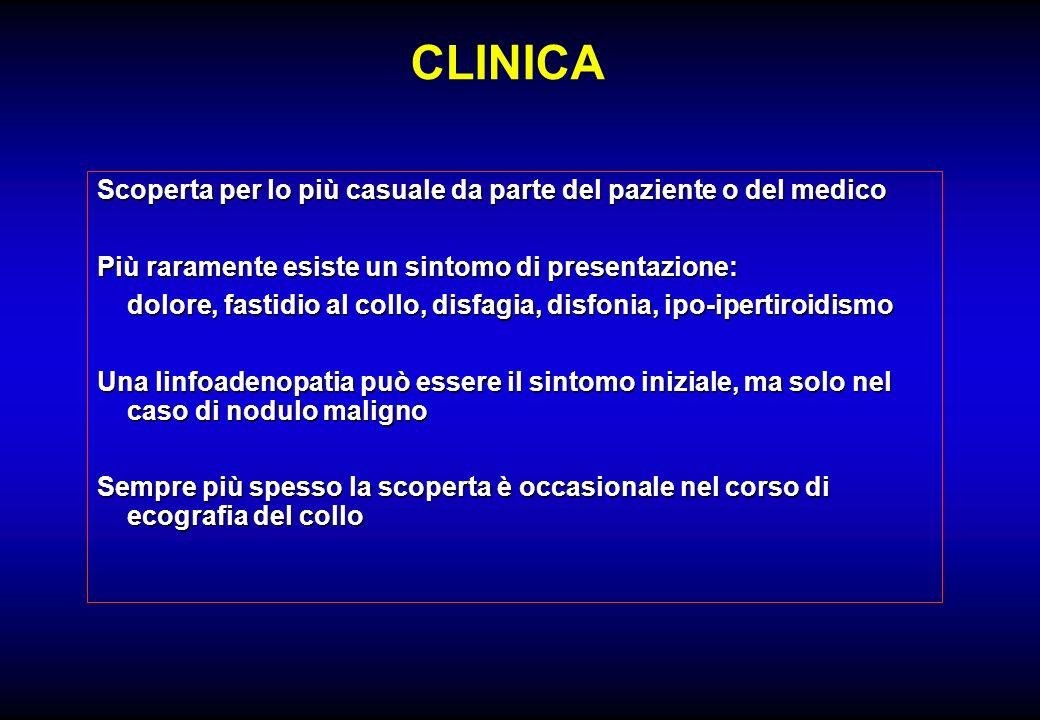 CLINICA Scoperta per lo più casuale da parte del paziente o del medico