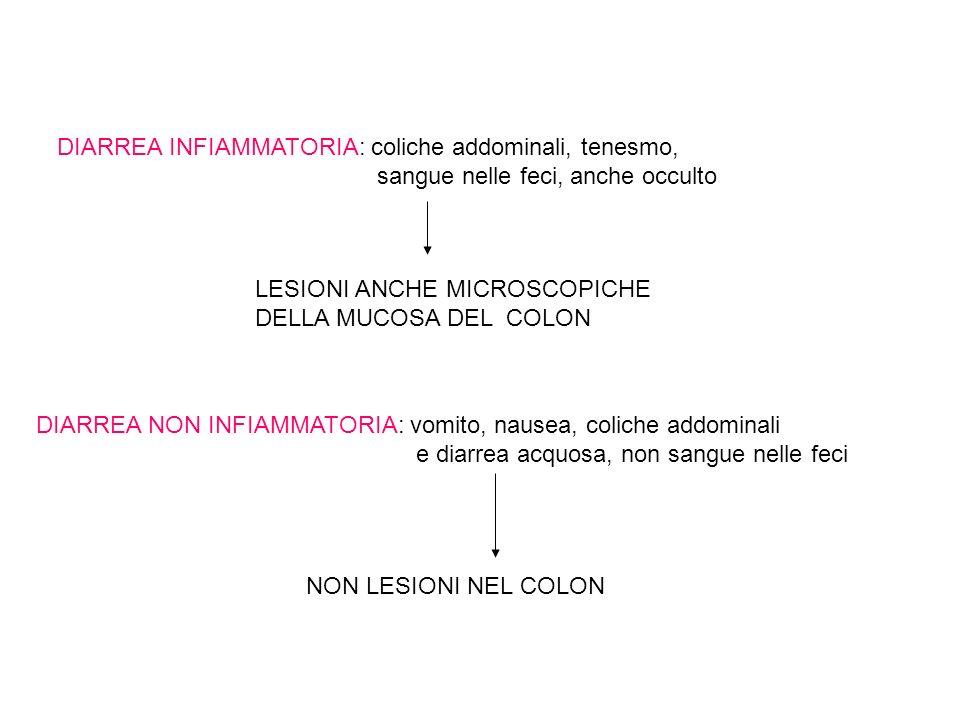 DIARREA INFIAMMATORIA: coliche addominali, tenesmo,