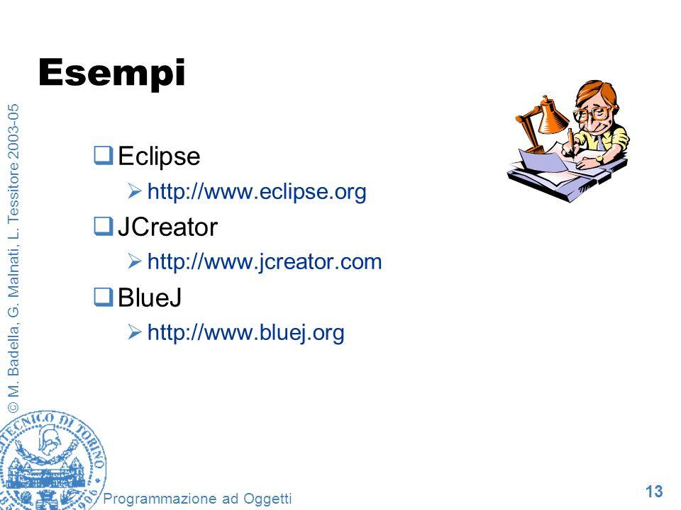 Esempi Eclipse JCreator BlueJ http://www.eclipse.org