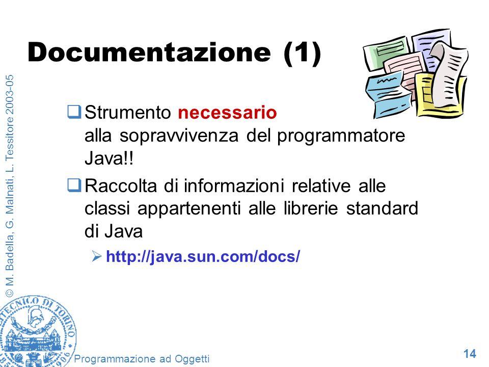 Documentazione (1) Strumento necessario alla sopravvivenza del programmatore Java!!
