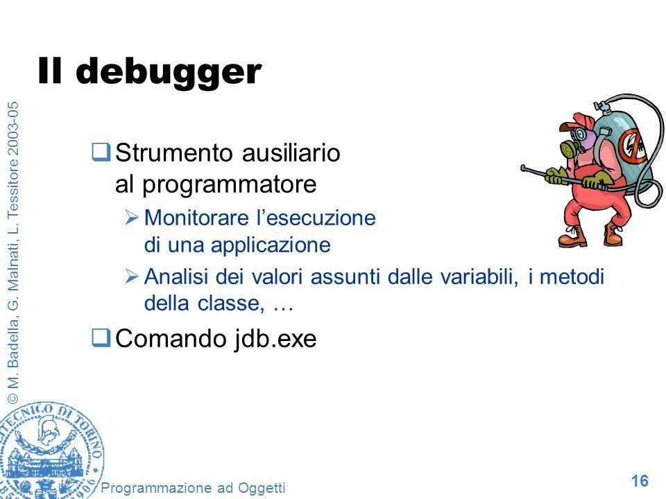 Il debugger Strumento ausiliario al programmatore Comando jdb.exe