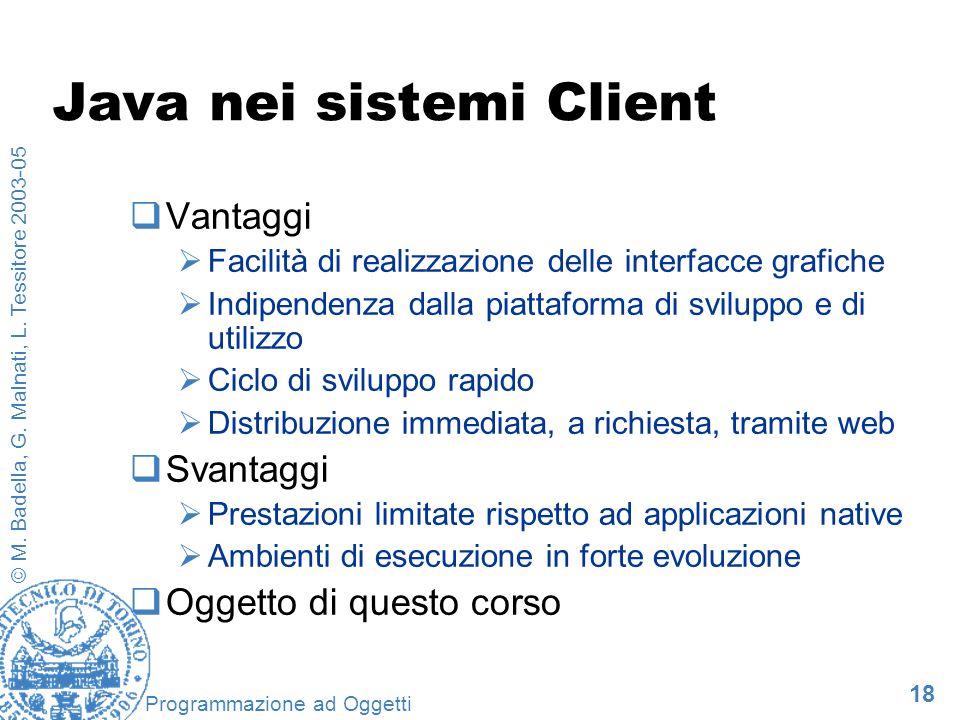 Java nei sistemi Client