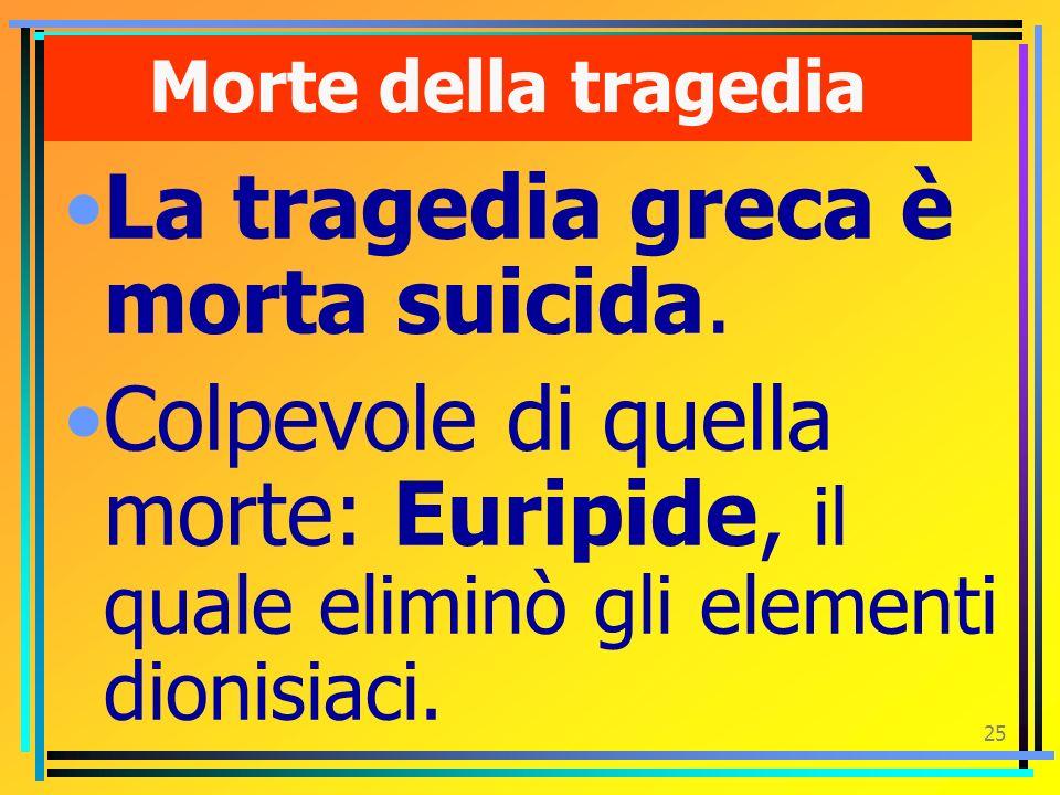 La tragedia greca è morta suicida.