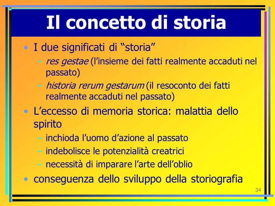 Il concetto di storia I due significati di storia