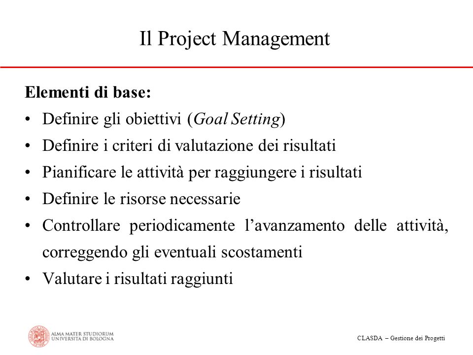 Il Project Management Elementi di base:
