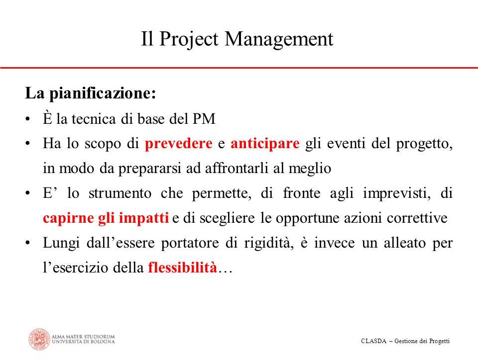 Il Project Management La pianificazione: È la tecnica di base del PM