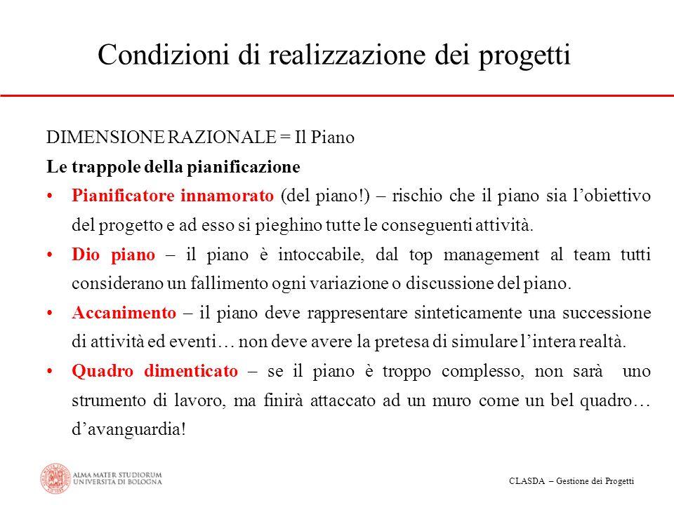 Condizioni di realizzazione dei progetti