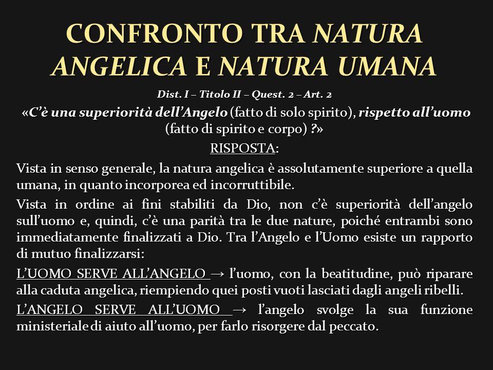 CONFRONTO TRA NATURA ANGELICA E NATURA UMANA