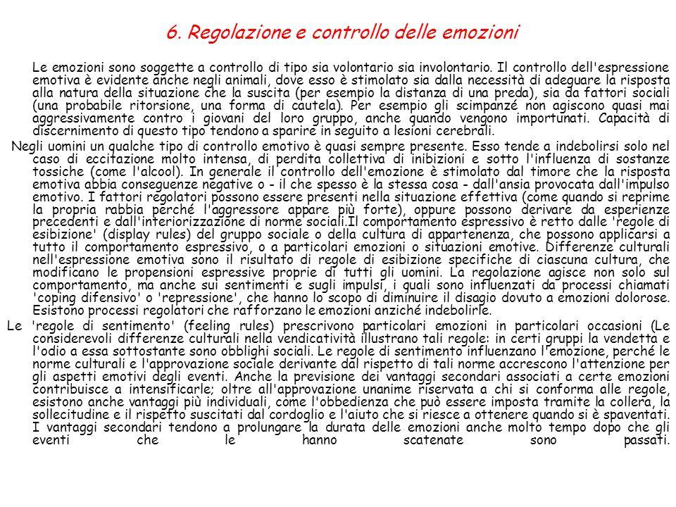 6. Regolazione e controllo delle emozioni