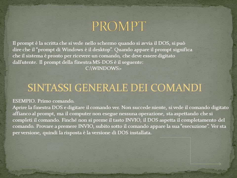 PROMPT SINTASSI GENERALE DEI COMANDI