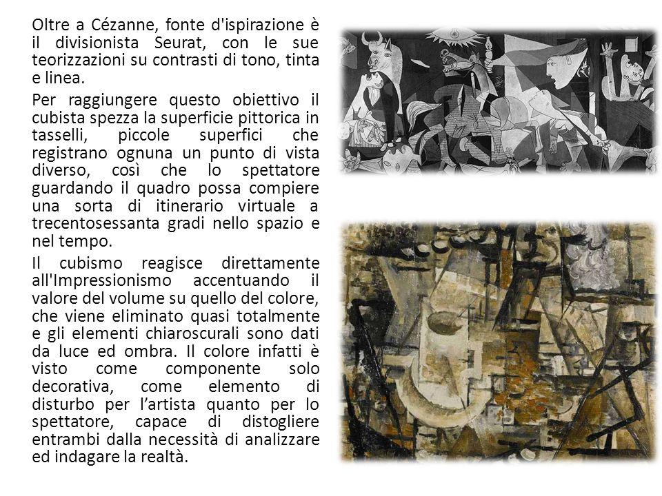 Oltre a Cézanne, fonte d ispirazione è il divisionista Seurat, con le sue teorizzazioni su contrasti di tono, tinta e linea.