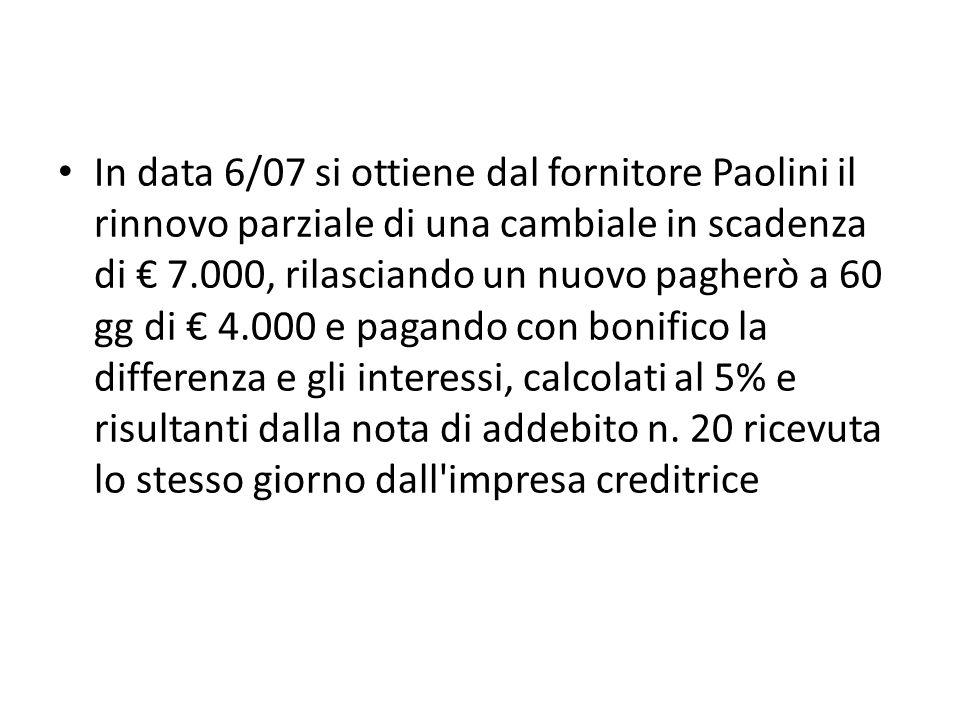 In data 6/07 si ottiene dal fornitore Paolini il rinnovo parziale di una cambiale in scadenza di € 7.000, rilasciando un nuovo pagherò a 60 gg di € 4.000 e pagando con bonifico la differenza e gli interessi, calcolati al 5% e risultanti dalla nota di addebito n.