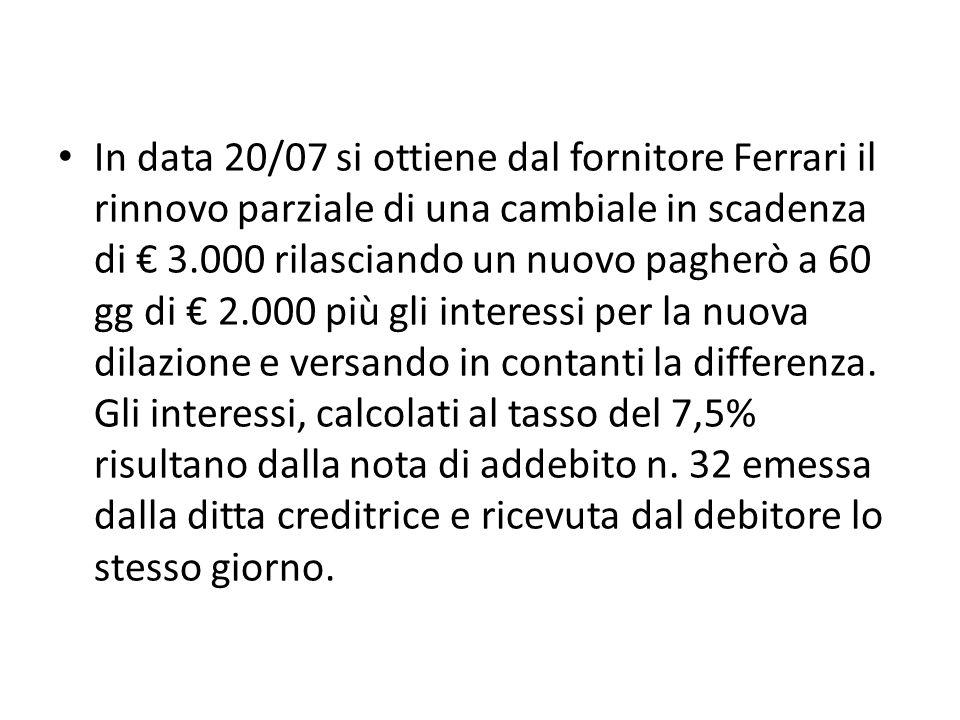 In data 20/07 si ottiene dal fornitore Ferrari il rinnovo parziale di una cambiale in scadenza di € 3.000 rilasciando un nuovo pagherò a 60 gg di € 2.000 più gli interessi per la nuova dilazione e versando in contanti la differenza.