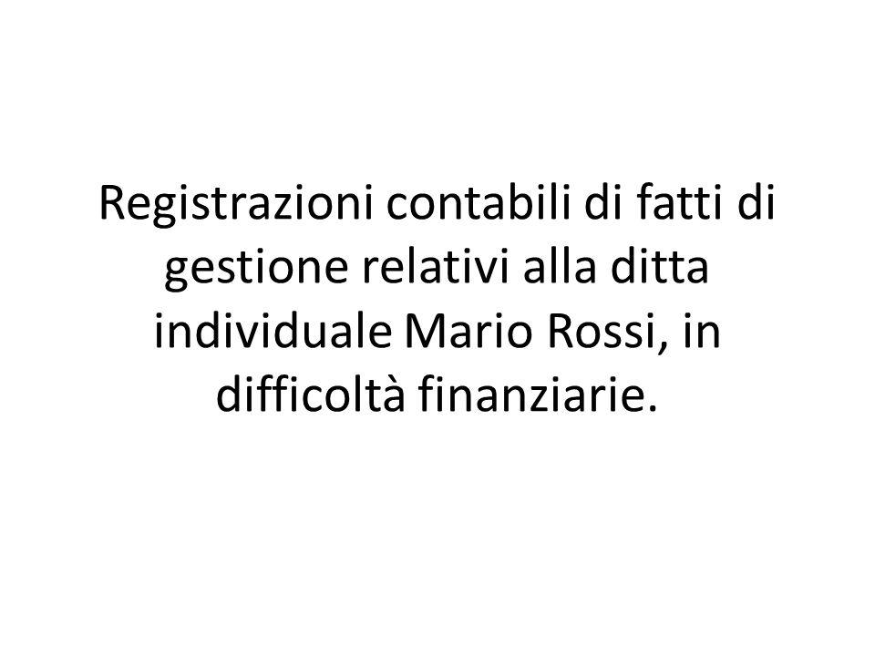 Registrazioni contabili di fatti di gestione relativi alla ditta individuale Mario Rossi, in difficoltà finanziarie.