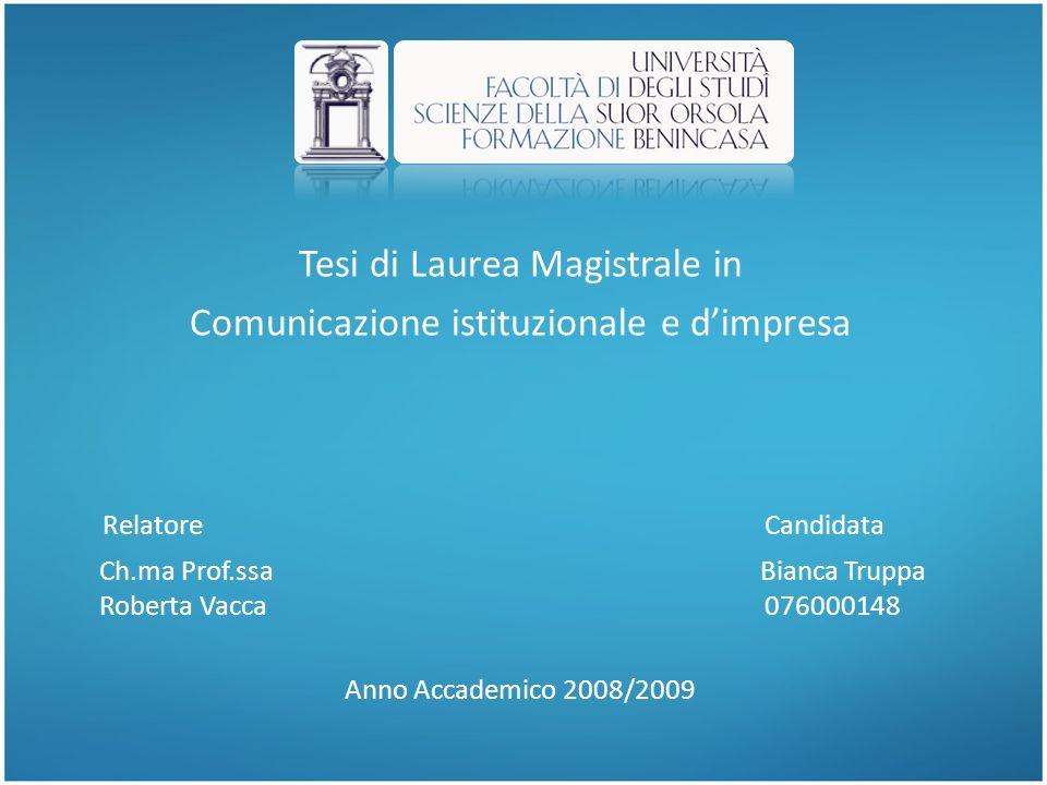 Relatore Candidata Tesi di Laurea Magistrale in