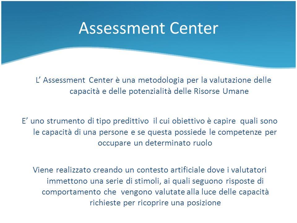 Assessment Center L' Assessment Center è una metodologia per la valutazione delle capacità e delle potenzialità delle Risorse Umane.