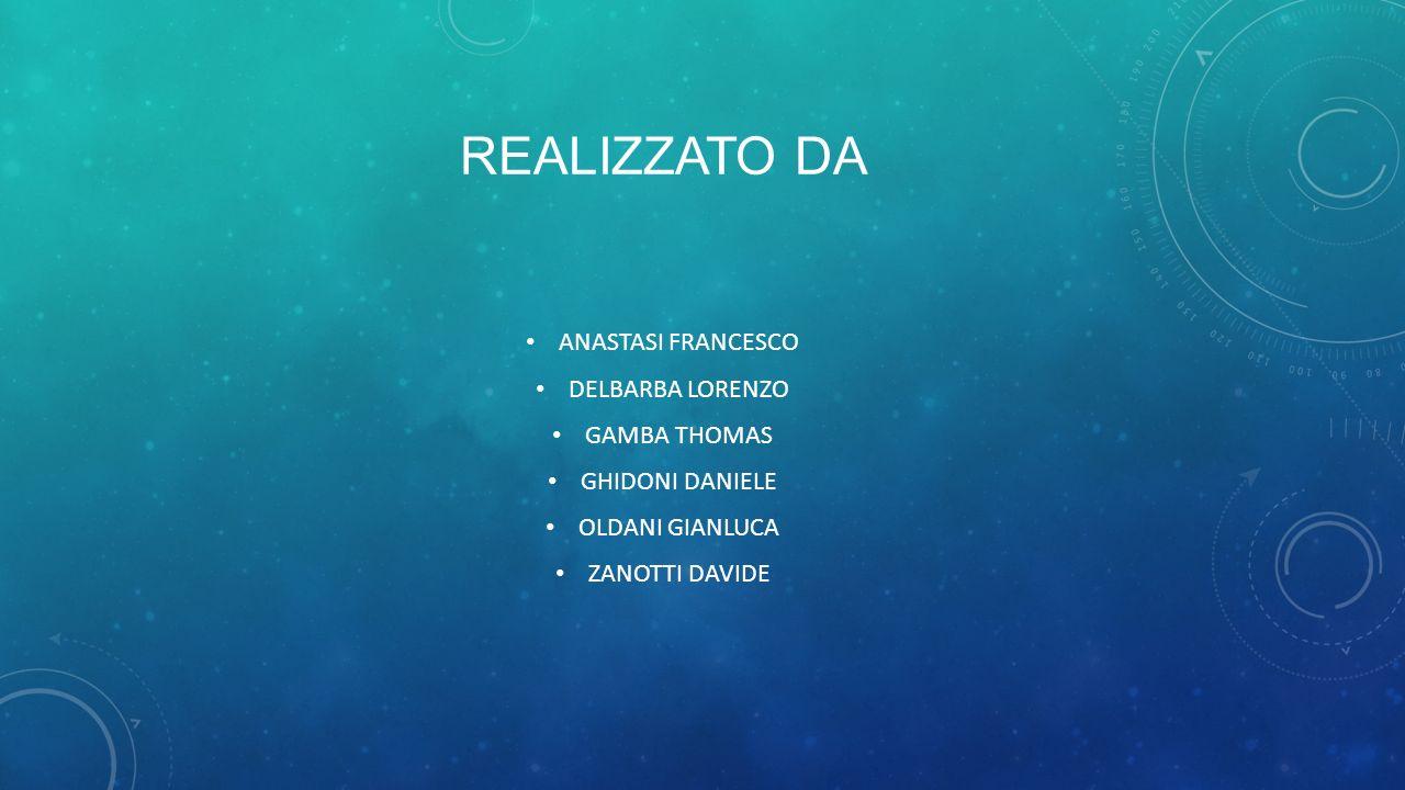 Realizzato da ANASTASI FRANCESCO DELBARBA LORENZO GAMBA THOMAS