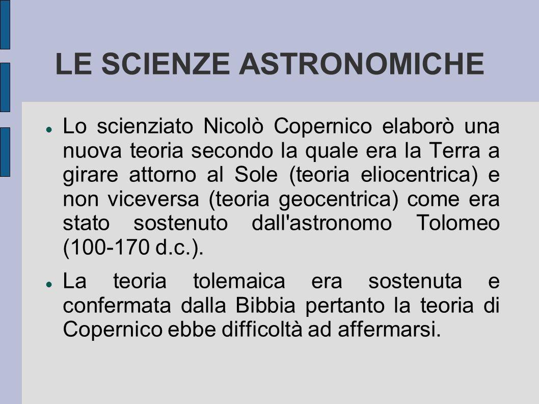 LE SCIENZE ASTRONOMICHE