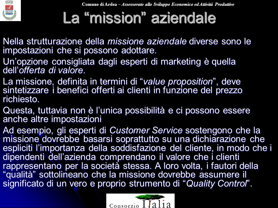 Organizzare l impresa per un marketing efficace ppt for Dichiarazione di missione adobe