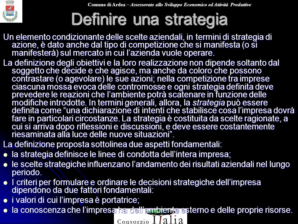 Definire una strategia
