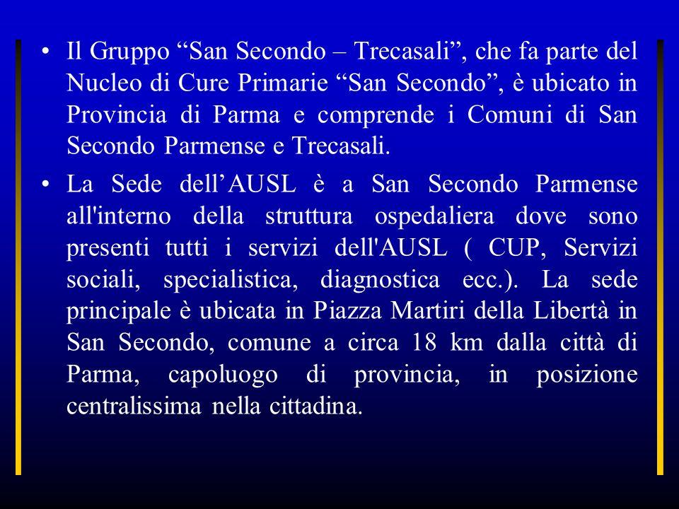 Il Gruppo San Secondo – Trecasali , che fa parte del Nucleo di Cure Primarie San Secondo , è ubicato in Provincia di Parma e comprende i Comuni di San Secondo Parmense e Trecasali.