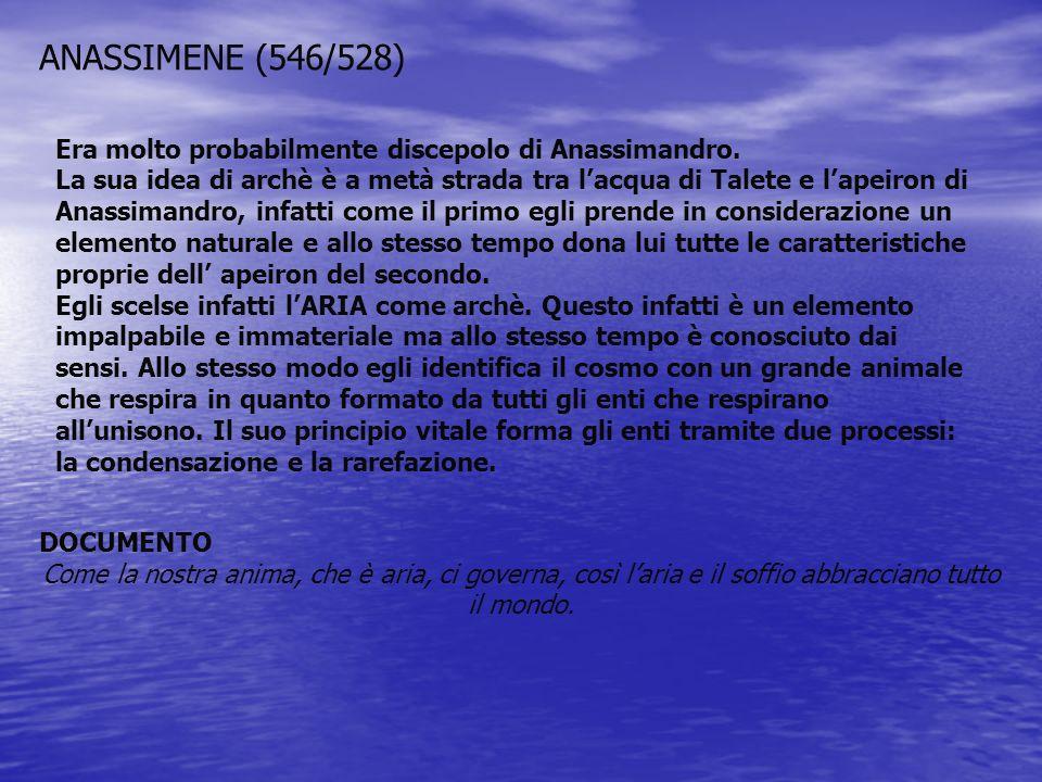 ANASSIMENE (546/528) Era molto probabilmente discepolo di Anassimandro.