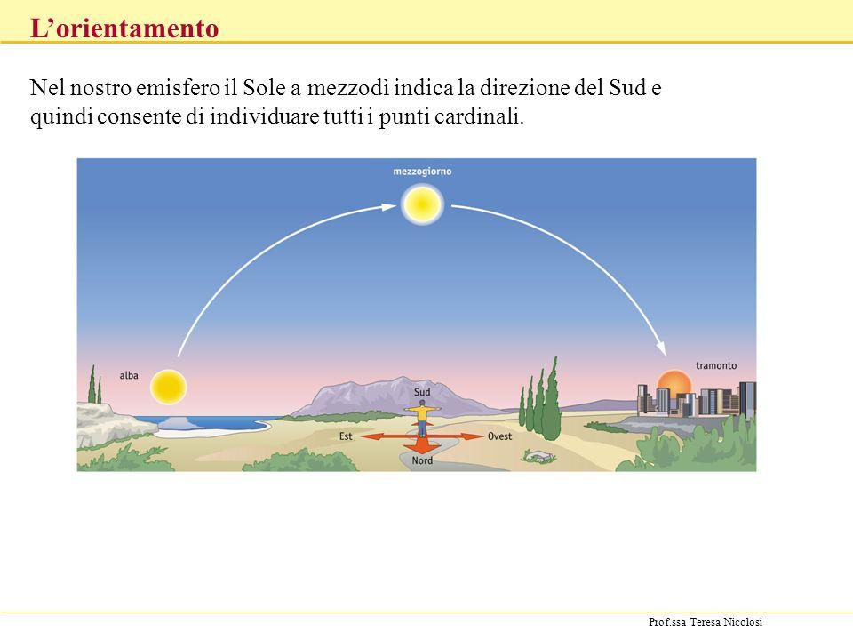 L'orientamento Nel nostro emisfero il Sole a mezzodì indica la direzione del Sud e quindi consente di individuare tutti i punti cardinali.