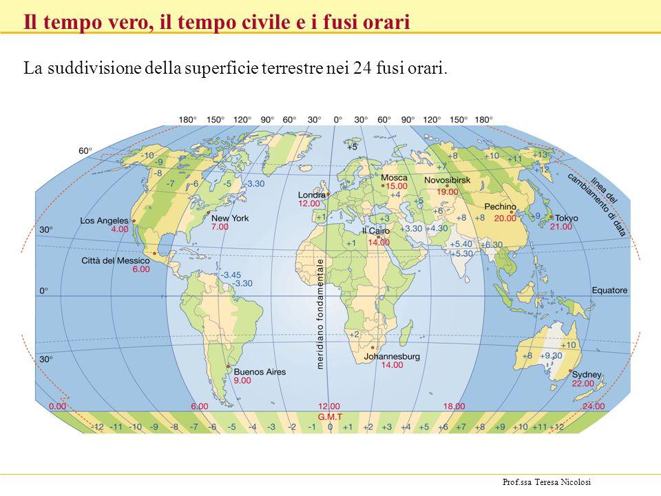 La suddivisione della superficie terrestre nei 24 fusi orari.