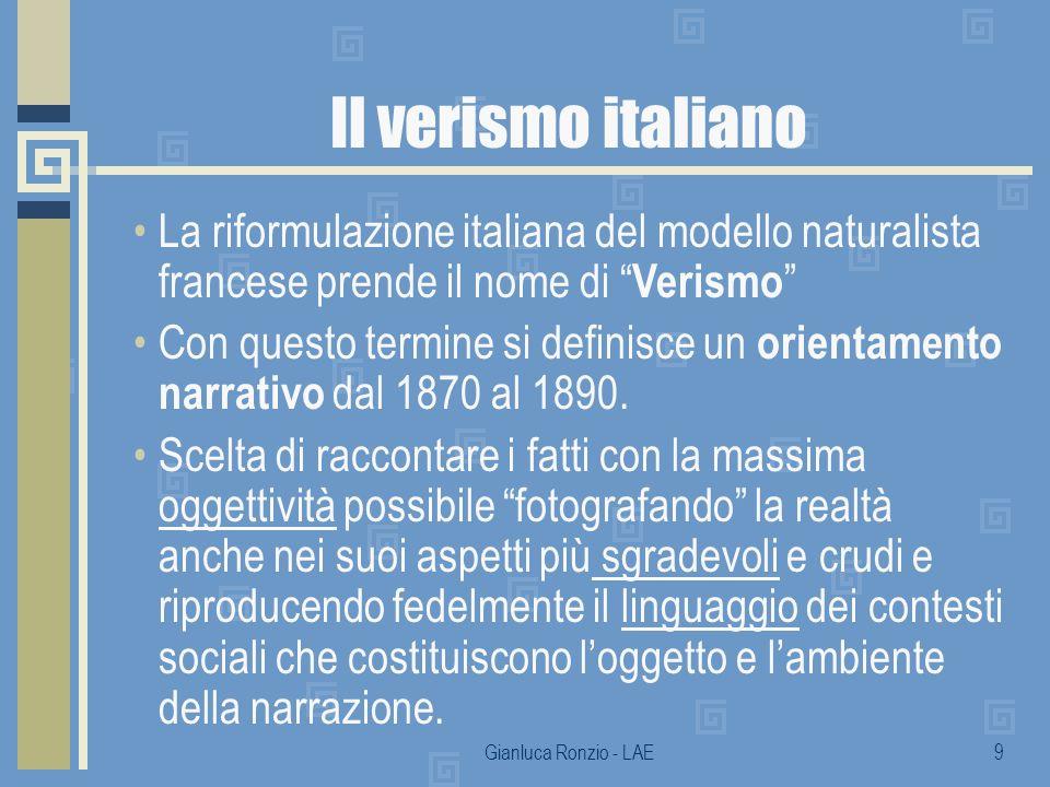 Il verismo italiano La riformulazione italiana del modello naturalista francese prende il nome di Verismo
